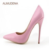 ALMUDENA Young Girl's Top Brand Pink Patent Leather High Heel Shoes Sweet Stylish Office Lady Daily Dress Shoes Shallow Pumps