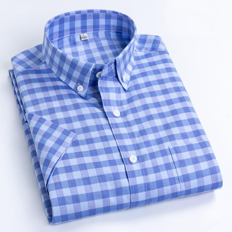 MACROSEA Men's Casual Shirts Leisure Design Plaid High Quality Men's Social Shirts 100% Cotton Short Sleeve Men's Shirts BLN