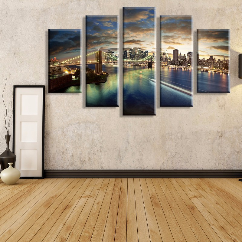 5 paneler Tall Bridge oljemålning Canvas Wall Art Picture - Heminredning
