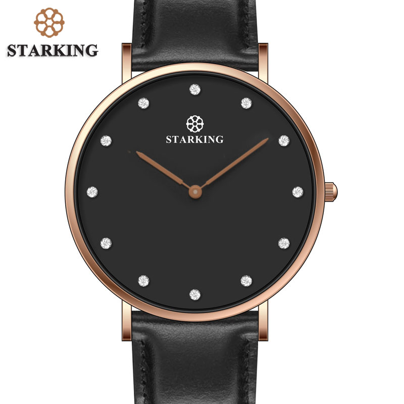 STARKING Top Luxury Brand Quartz Watch Men Black Fashion Casual Japan Movt stainless steel Mesh strap 6MM Ultra Thin Clock Male ultra luxury 2 3 5 modes german motor watch winder white color wooden black pu leater inside automatic watch winder