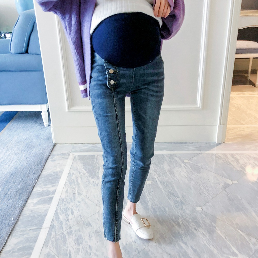 Maternity jeans trousers 2018 autumn new outer wear tide was thin loose mom maternity care belly pants woman fashion slim solid knee distrressed maternity wear jeans premama pregnancy prop belly adjustable pants for women c73