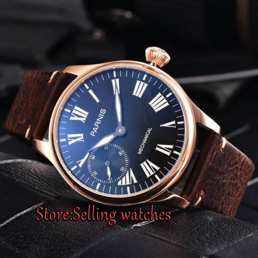 Parnis 44mm Rose gold case Black dial Hand Winding ST 3600 6497 Mechanical Mens Watches цена и фото