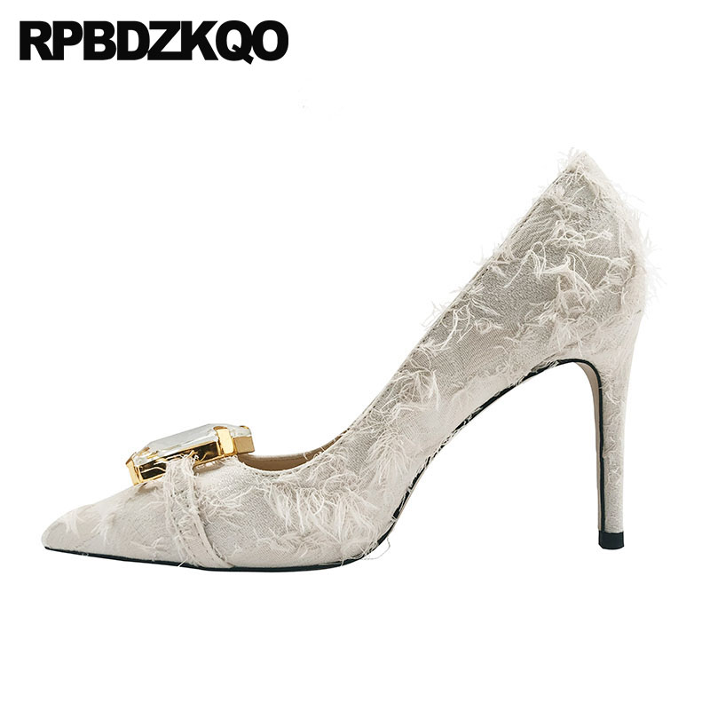 size 4 34 pointed toe dress crystal shoes women 2019 beige pumps 33 diamond chic evening 3 inch rhinestone high heels stilettosize 4 34 pointed toe dress crystal shoes women 2019 beige pumps 33 diamond chic evening 3 inch rhinestone high heels stiletto