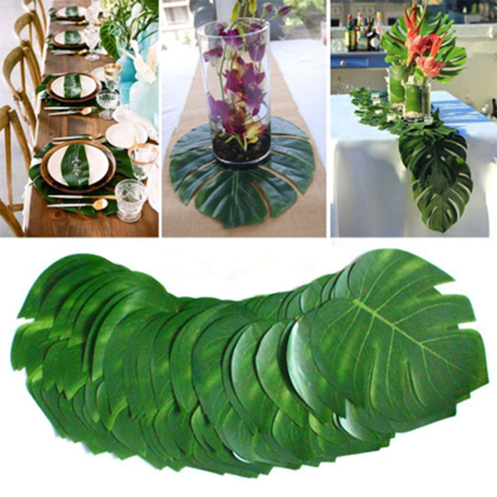 12pcs/Lot Summer Tropical Party Artificial Palm Leaves Hawaiian Luau Party Jungle Beach Theme Party Decoration Hawaii(China)