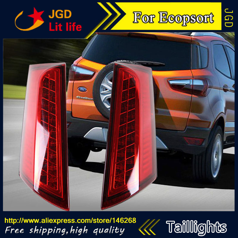 Car Styling tail lights for Ford Ecopsort 2014 2015 LED Tail Lamp rear trunk lamp cover drl+signal+brake+reverse car styling tail lights for kia k5 2010 2014 led tail lamp rear trunk lamp cover drl signal brake reverse