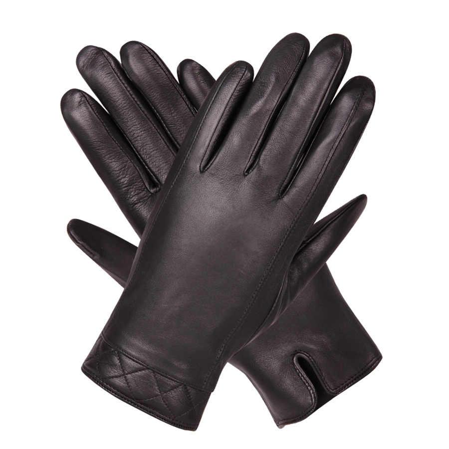 新しいビジネス革手袋メンズ冬暖かい肥厚プラスベルベットタッチスクリーン駆動シープスキン手袋 M18006-5