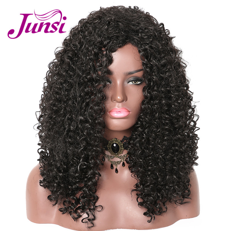 JUNSI Long Afro Curly Wigs Black Heat Resistant Synthetic Hair Wigs with Women