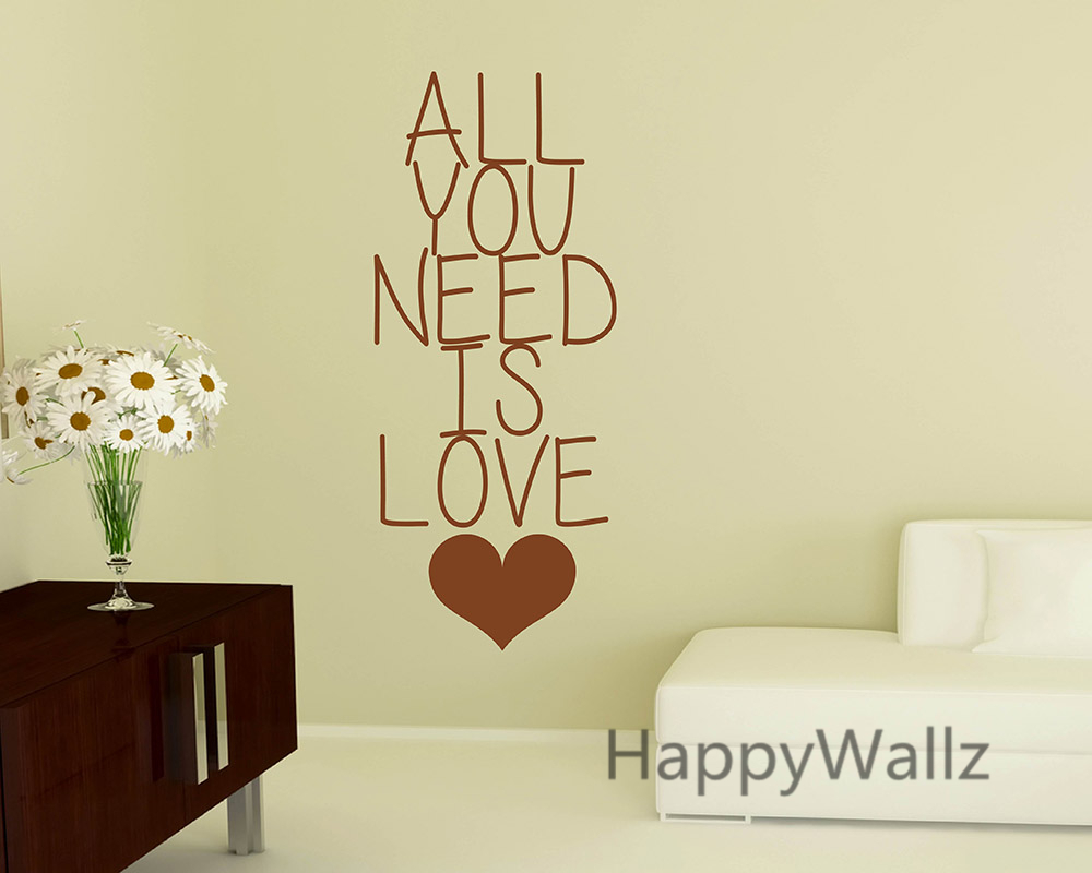 Love Quote Wall Sticker All You Need is Love Lettering Quote Wall ...