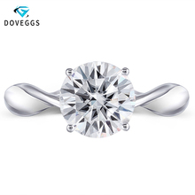 DovEggs 14K 585 White Gold 2ct Carats 8MM F Color Moissanite Engagement Ring for Women Wedding Solitaire