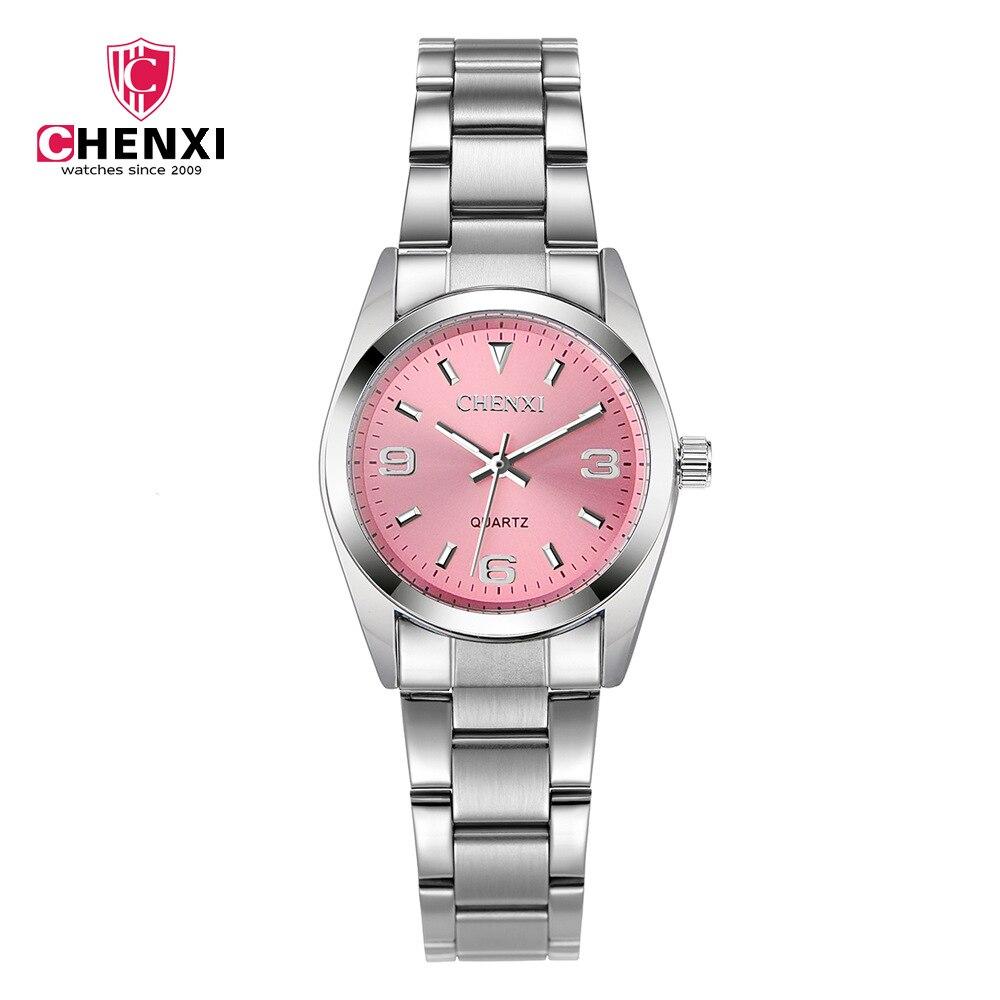 Plata correa de acero inoxidable reloj mujeres Relojes de cuarzo Top marca de lujo reloj chica Relogio feminino