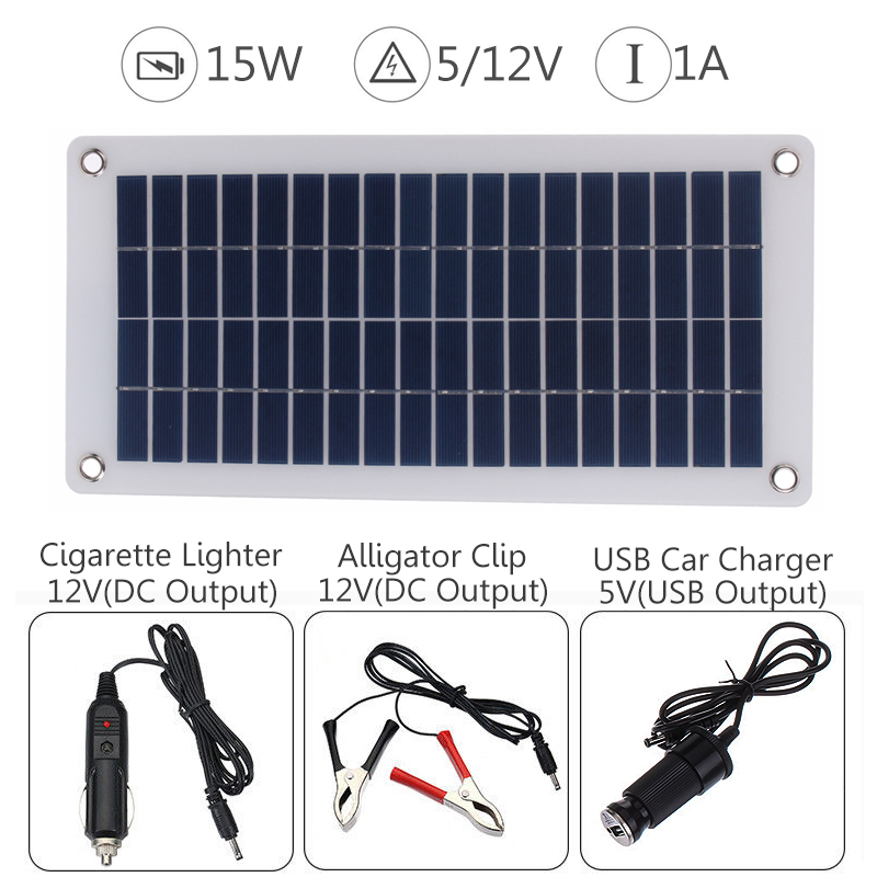 15W 12V 5V Solar Panel USB Portable Power Bank Board External Battery Charging Solar Cell Board DIY Clips Outdoor Travelling 12v 5v 110v 240v 97200mah 400wh li polymer usb high drain rechargeable solar panel battery for outdoor emergency power bank