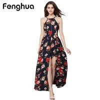 Fenghua Elegant Sexy Backless Chiffon Maxi Dress For Women Party Dresses Summer Bohemian Beach Boho Long