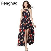 Fenghua Elegante Backless Atractivo de la Gasa de La Impresión Maxi Vestido Para Las Mujeres Vestidos de Fiesta de Verano 2017 de Bohemia de la Playa Vestido Largo Bohemio DS090