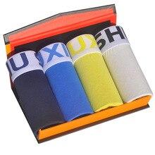 DEWVKV Sexy Cotton Boxer For Men Underpants Boxershorts Comfortable Soft Solid Plus Size Lot Lange Spandex Black 4Pcs/XXL JK