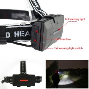 Image 5 - Pocketman Headlight Powerful USB Headlamp 4* T6 +2*COB+2*Red LED Head Lamp Head Flashlight Torch Lanterna with batteries charger