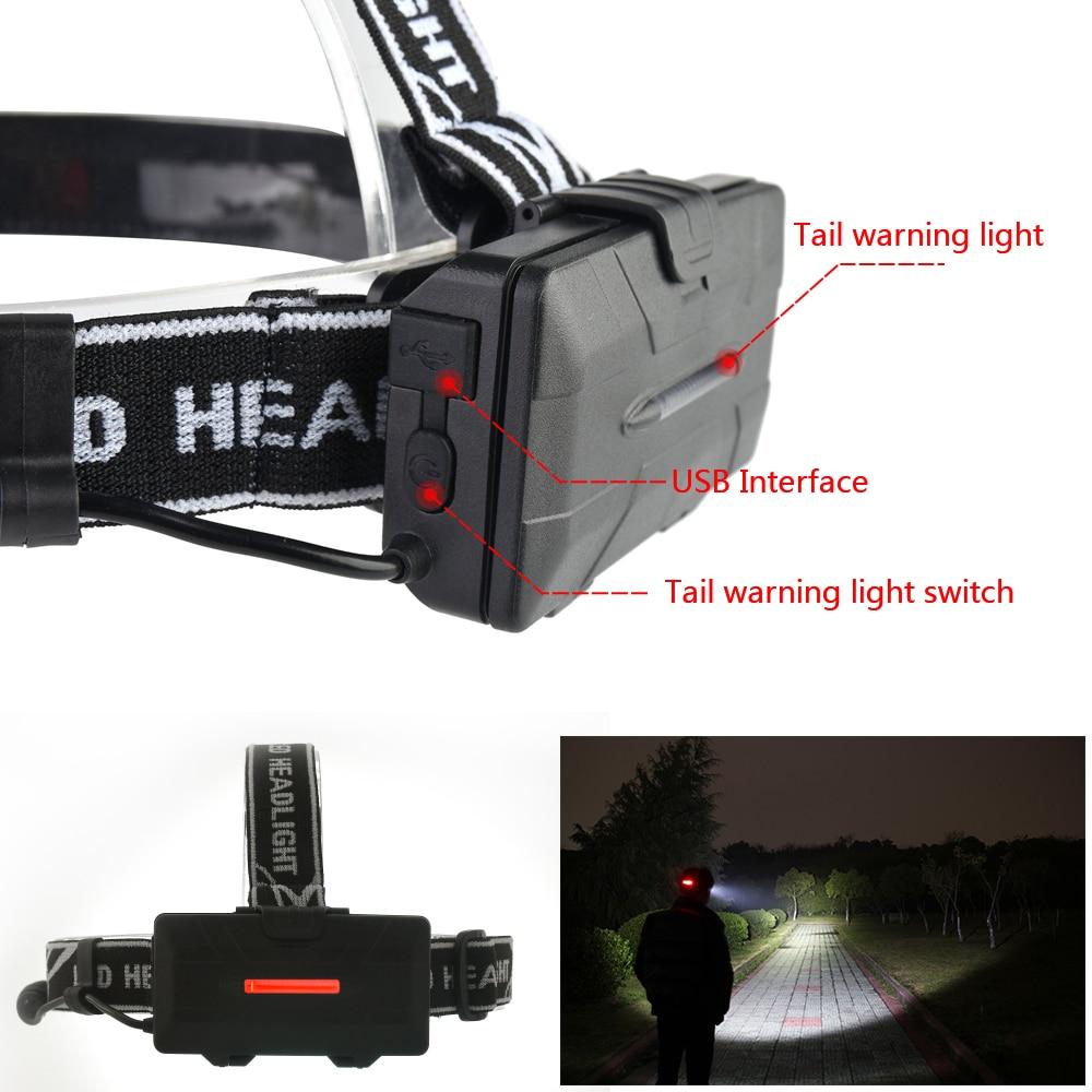 Image 5 - Pocketman פנס חזק USB פנס 4 * T6 + 2 * COB + 2 * אדום LED ראש מנורת ראש פנס לפיד Lanterna עם סוללות מטעןlumen headlamphead lampled head lamp -