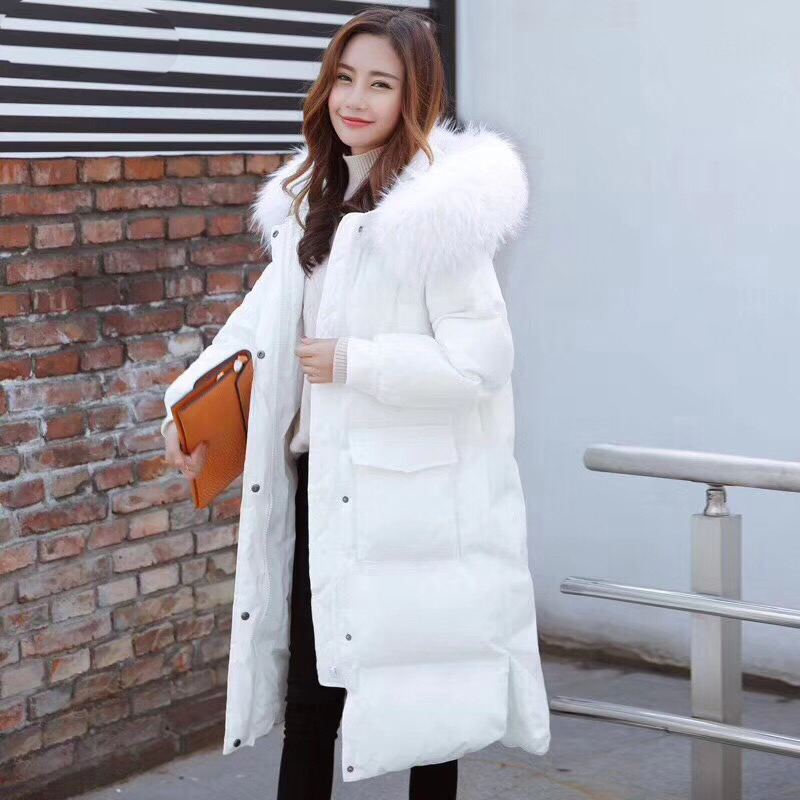 Large Female Snow Warm Outwear Real Fur Collar Jacket Winter Women Hooded Parkas White Duck   Down   Long   Coat