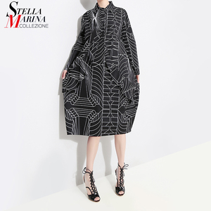 Image 1 - 2020 Korean Style Women Loose Plus Size Black Shirt Dress Long Sleeve Striped Printed Ladies Casual Midi Party Dresses Robe 4703