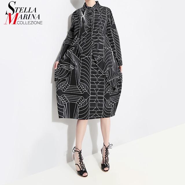 2020 Korean Style Women Loose Plus Size Black Shirt Dress Long Sleeve Striped Printed Ladies Casual Midi Party Dresses Robe 4703