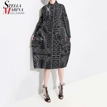 2020 الكورية نمط المرأة فضفاض حجم كبير قميص أسود فستان طويل الأكمام مخطط مطبوعة السيدات عادية ميدي فساتين الحفلات رداء 4703