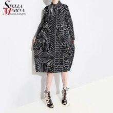 Robe mi longue noire à rayures pour femmes, Style coréen, chemise ample, taille grande, à manches longues, imprimé, Robe de soirée, collection 2020