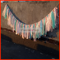 Free Shipping Pink And Mint Rag Tie Garlands Sweet Baby Girl Birthday Party Banners Photography Backdrops