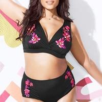 Sexy Black High Waist Bikini Set 2018 Floral Print Fat Swimsuit Women Swimwear High Waisted Bathing