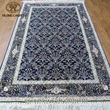 Yilong 5'x8 'anudada seda sobre seda oriental azul raíces anudadas a mano alfombras de seda hecho a mano oriental carpet (655a-5×8)