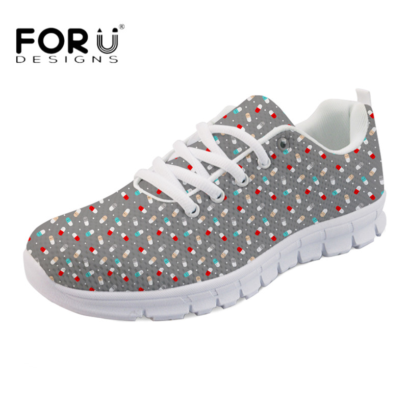 FORUDESIGNS 2018 HOT Casual Flats Cute Cartoon Pills Printing Women Light Mesh Sneakers Comfortable Lace-up Flat shoes for Girls instantarts cute cartoon pediatrics doctor print summer mesh sneakers women casual flats super light walking female flat shoes