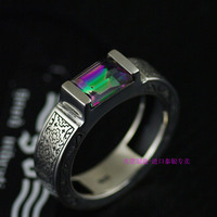 Thailand imports, genuine GV new square Zircon Mens 925 Silver Ring