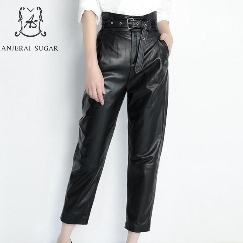 Printemps automne véritable cuir baggy pantalon femmes noir taille haute poche ceinture streetwear décontracté femme pantalon femmes en cuir pantalon