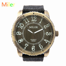 MILER New Fashion Men Watch Retro Style Large numbers Watch Fabric Strap Quartz Male Wristwatches Relogio Masculino Montre Homme