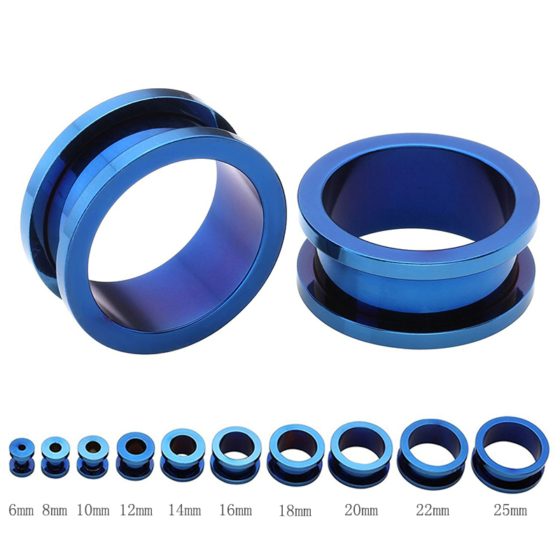 Plug Glass Borosilicate Anchor Anchor Marine Blue Flesh Tunnel Ear Piercing