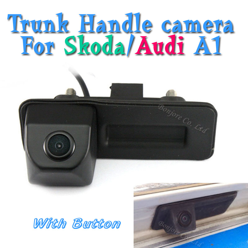 CCD Parking Trunk Handle Camera For Skoda/Octavia/Fabia/Superb/Roomster/Yeti/Audi/A1 Car Rear View Backup Reversing With Button bigbigroad car trunk handle rear view backup reverse camera for skoda roomster fabia octavia 5e mk2 yeti superb audi a1