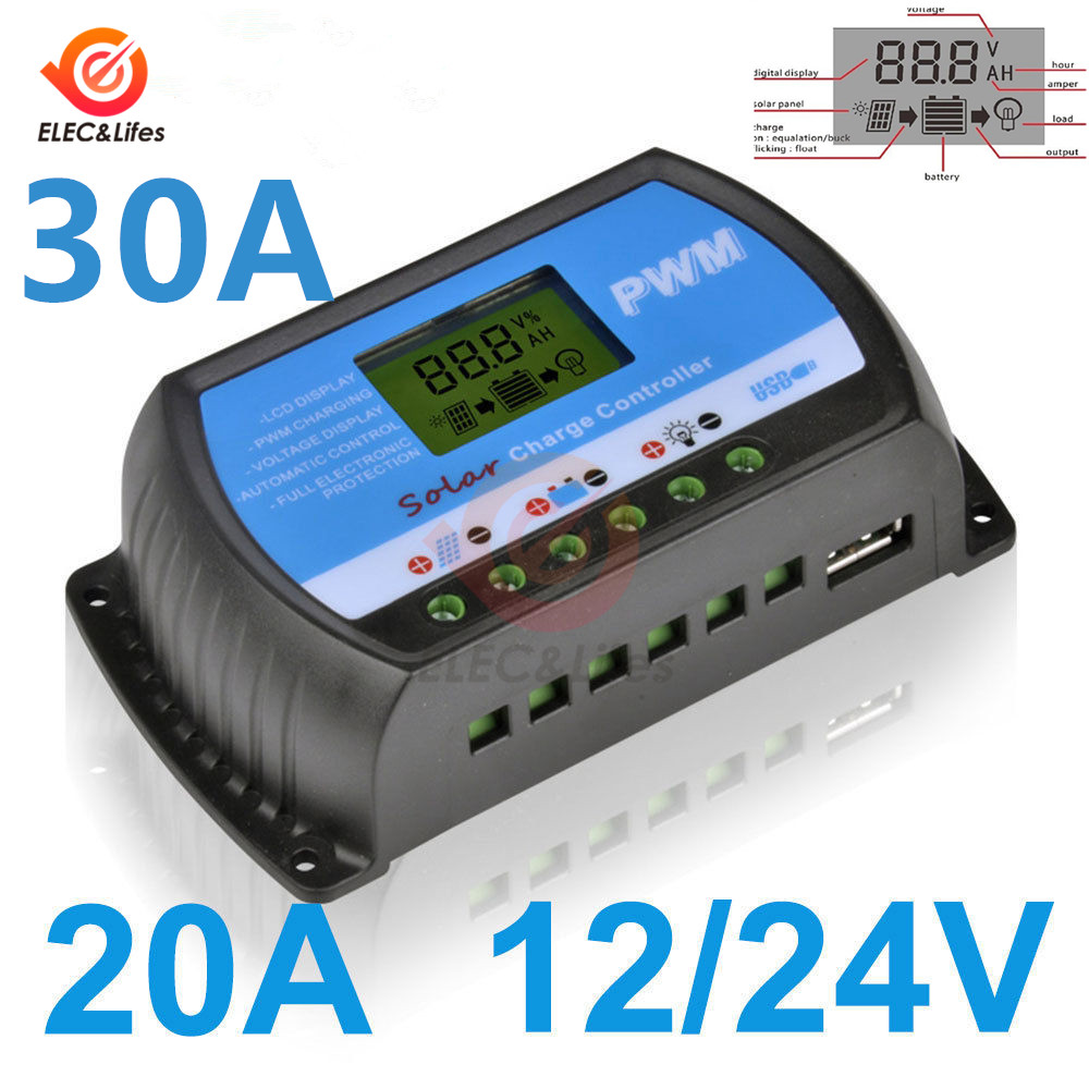12V 24V LCD Digital Auto <font><b>Solar</b></font> Panel Battery <font><b>Charge</b></font> <font><b>Controller</b></font> <font><b>30A</b></font> 20A with USB <font><b>PWM</b></font> <font><b>controller</b></font> <font><b>Solar</b></font> PV Regulators 20 AMP 30 Amp image