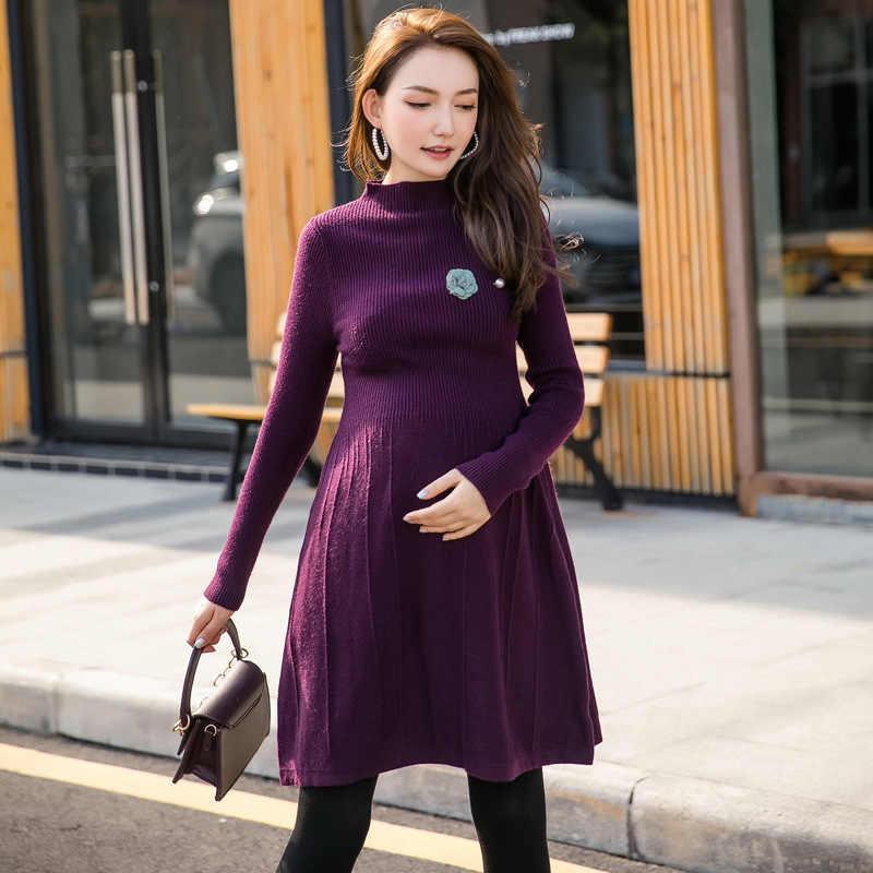 Autumn Winter Long skirt maternity Knitting dress Maternity Nursing Sweaters Dress for Pregnant Women Clothes H340