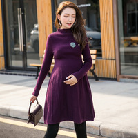 Autumn Winter Long skirt maternity Knitting dress Maternity Nursing Sweaters Dress for Pregnant Women Clothes H340