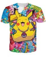 Lastest Camisetas 2015 Men Women S 3D Tee Shirts Graphic Good Qualityed Cartoon Pokemon Pikachu Funny