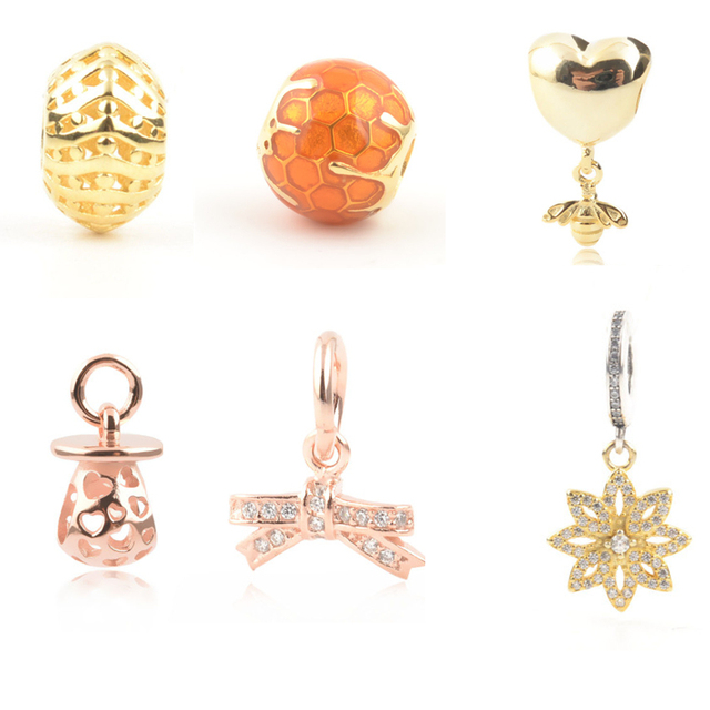 3747491d8 Silver Original 925 Honeybee Charms fit Pandora Bracelet Rose Gold&Gold  Sweet Bee Home Nest Nipple Bottle Beads Pendant Mom Gift