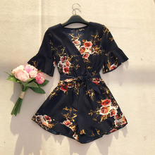 NiceMix 2019 Vintage Summer Flare Sleeve Print Floral Wide Leg Jumpsuit Shorts Chiffon Short Sleeve Sashes Lace Up Shorts Women loose fit thin straight leg lace up men s floral shorts