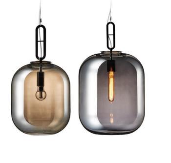 Nordic Milan Glass Pendant Light Modern Bar Loft Restaurant Home Decor Hanging Lamp Smoky Glass Lighting Fixture