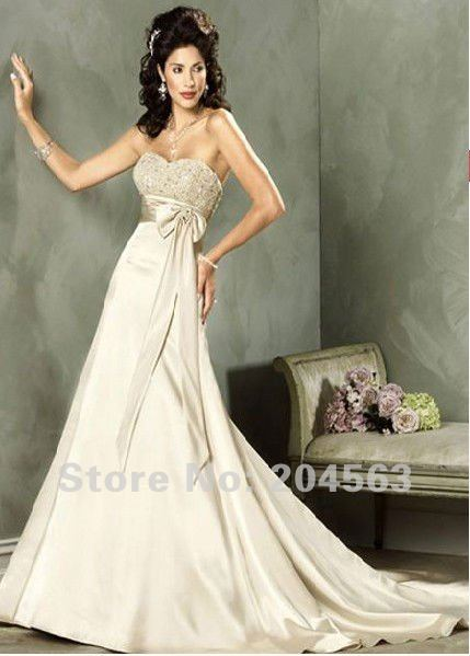 free shipping classic elegant cream empire waist strapless sash wedding dress any sizecolor