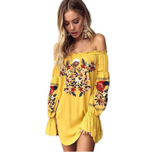 Off Shoulder Flower Embroidery Dress New 2017 Summer Ethnic Style Flare Sleeve Boho Short Robe Sexy Chic Beach Dresses
