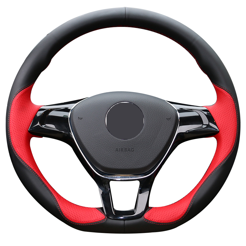 Black Leather Red Leather Car Steering Wheel Cover for Volkswagen VW Golf 7 Mk7 New Polo