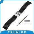 22mm banda de caucho de silicona para moto 360 2 46mm samsung gear 2 r380 r381 r382 pebble tiempo/smart watch pulsera correa de acero negro