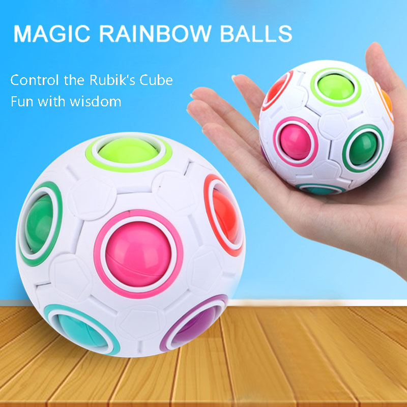 Creative Magic Spherical Speed Rainbow Puzzles Ball Football Kids Educational Learning Puzzle Toys For Children Adult
