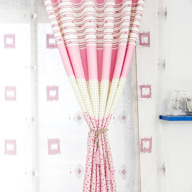 The Girl Child Curtains Short Stripe For Bedroom Curtains And Shading  Curtain Pink Blue