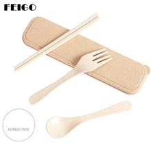 FEIGO 3 Pcs/Set Western Cutlery Wheat Straw Dinnerware Set With Travel Tableware Kitchen Knife Fork 4 Colors F423