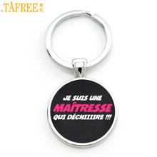 TAFREE glass cabochon je suis une maitresse qui dechiiire keychain exquisite fashion bag car key chain ring holder charms CT261