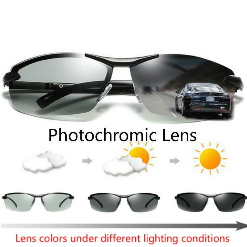 Driving Photochromic Sport Sunglasses Men Polarized Chameleon Discoloration Driving Fishing Sunglasses UV400 Male Drive Goggles